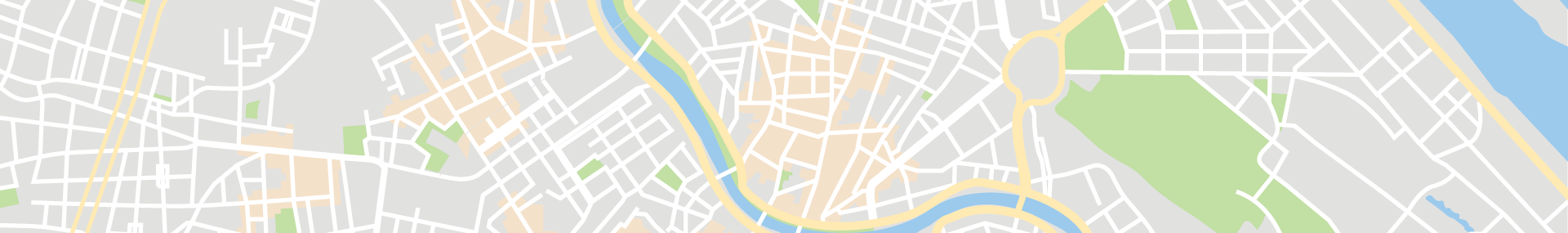 Illustrated map, top down showing streets and city features