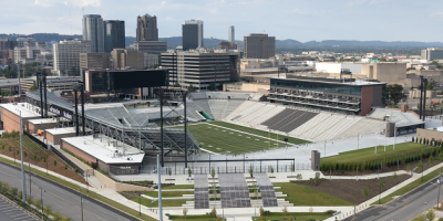Protective Stadium as seen from above with downtown Birmingham skyline visible in background