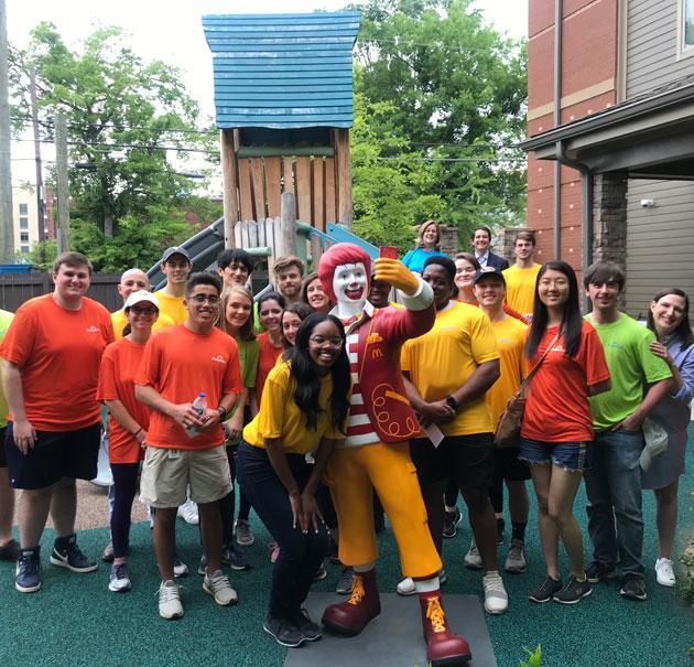 Protective interns take a group photo at Ronald McDonald House Charities