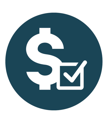 Dark blue dollar sign and checkbox icon