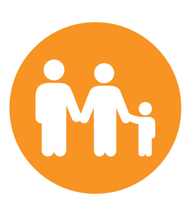 Orange icon of family holding hands