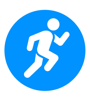 Light blue icon of person running