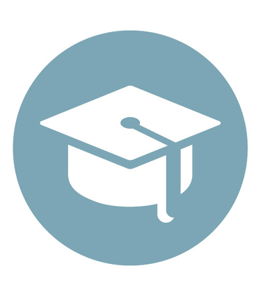 Light blue graduation cap icon