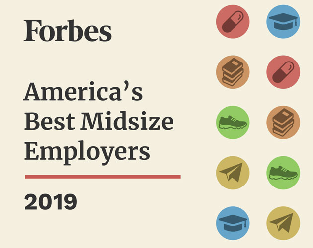 Forbes best midsize employers 2019 logo and icons