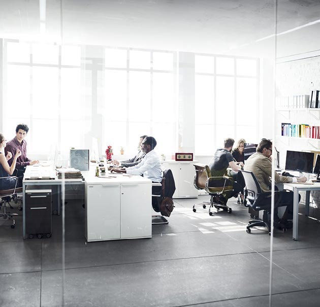 A team of coworkers sharing a workspace