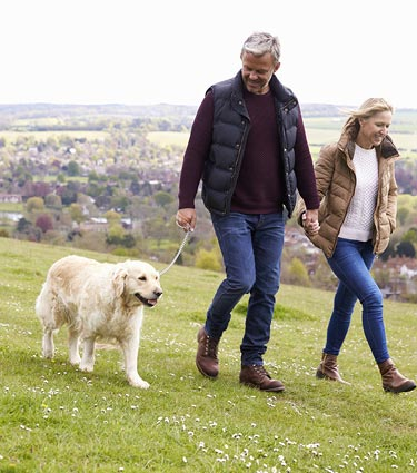Middle-aged couple walking dog