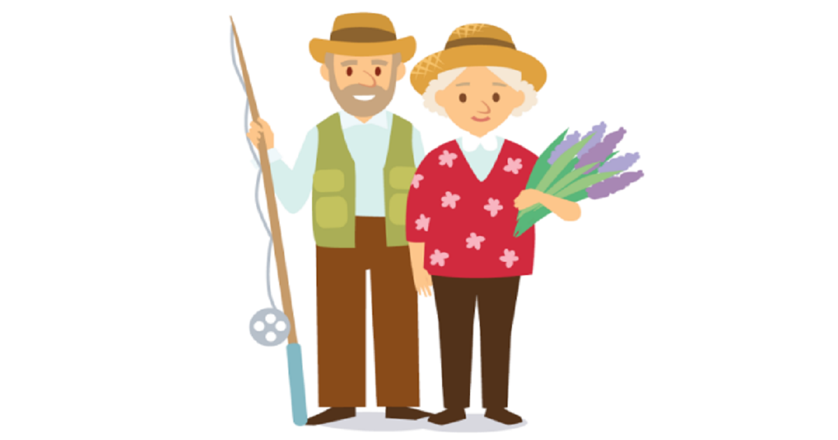 Illustration of senior man with fishing pole and woman holding flowers.