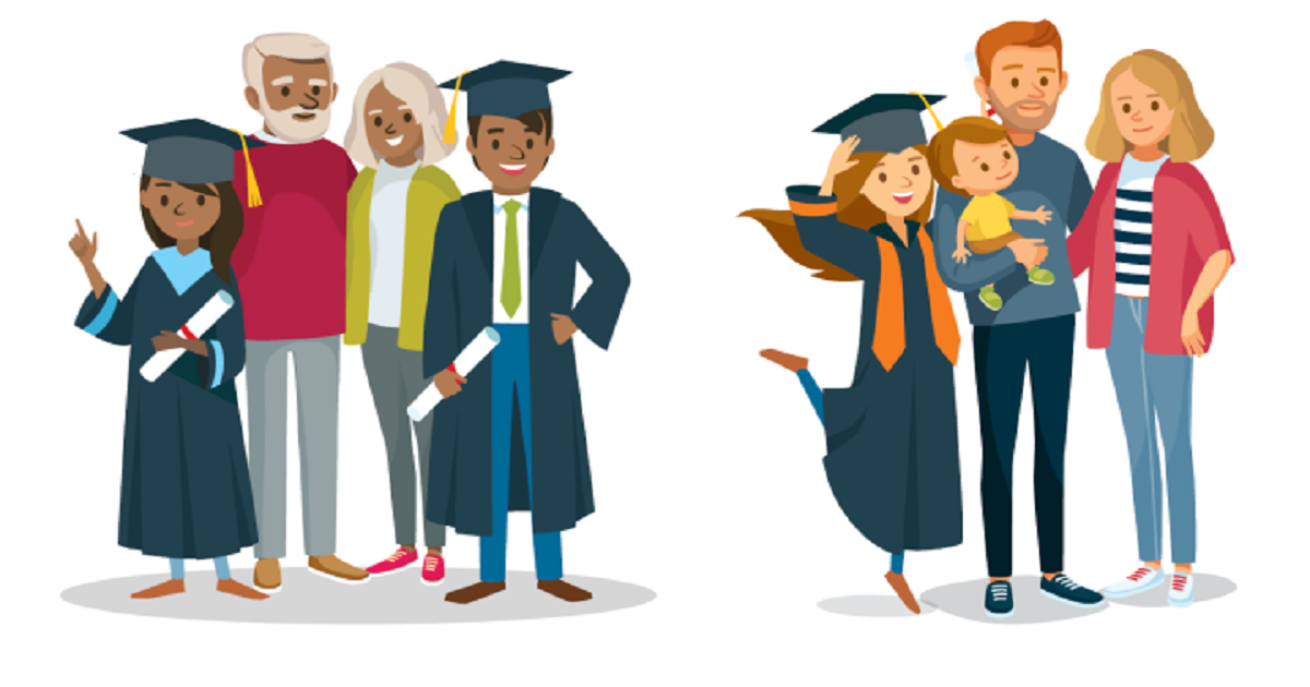 Illustration of two families posing with happy college graduates.