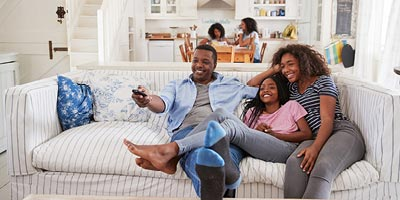 Young family spending time together in their newly renovated home.