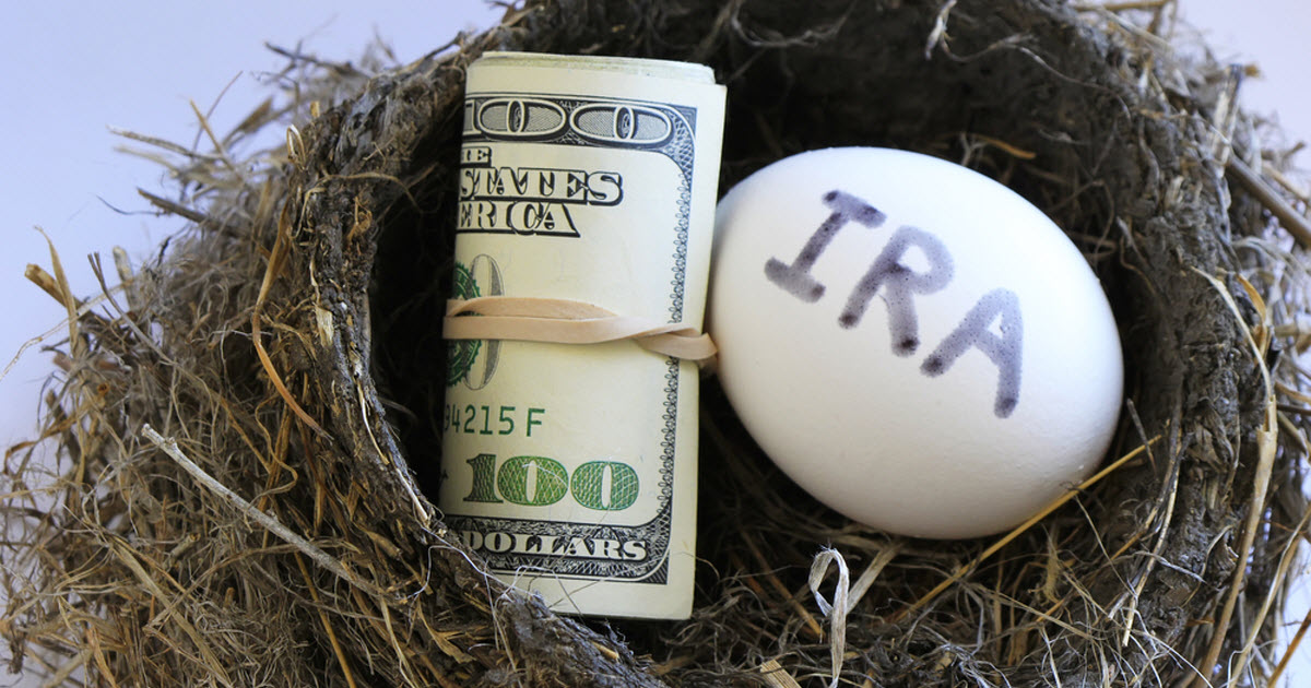 "An IRA ""nest egg"" and roll of one hundred dollar bills placed in a bird's nest"