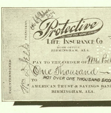 The first claim check written by Protective Life in 1909