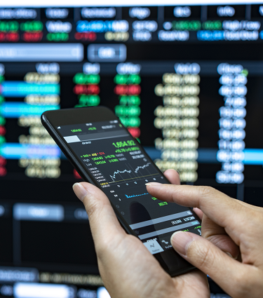 Mobile phone displaying stocks.