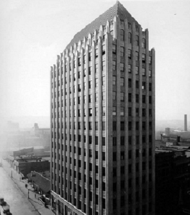 A black and white photograph of the old Protective Life building in downtown Birmingham.
